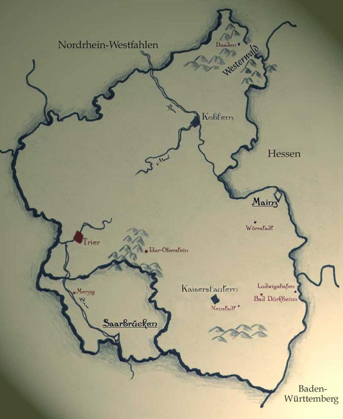 Karte Baden Württemberg Rheinland Pfalz.Die Landkarte Rheinland Pfalz